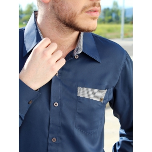 Slimming Turn-Down Collar Splicing Design Long Sleeve Shirt For Men - CADETBLUE M