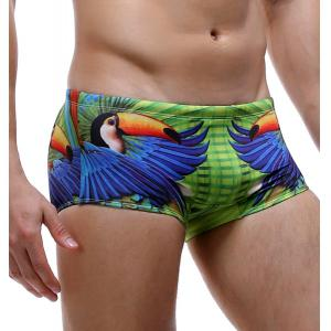 Parrot and Letter Print Color Block Swimming Trunks For Men -