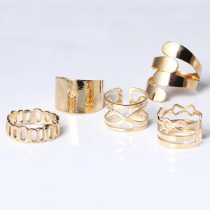 A Suit of Vintage Hollow Out Infinite Rings - GOLDEN ONE-SIZE