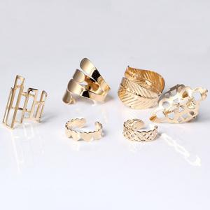 A Suit of Vintage Geometric Leaf Cuff Rings -