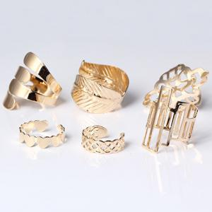 A Suit of Vintage Geometric Leaf Cuff Rings - GOLDEN ONE-SIZE