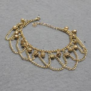 Stylish Gold Plated Small Bell Traditional Anklets -