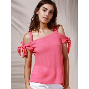 Sweet Spaghetti Strap Pure Color Cut Out Blouse For Women - LIGHT PINK XL