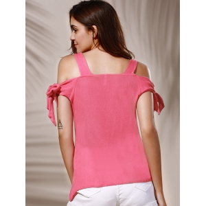 Sweet Spaghetti Strap Pure Color Cut Out Blouse For Women - LIGHT PINK S