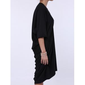 Maxi Plunge Neck Batwing Sleeve Casual Dress - BLACK ONE SIZE