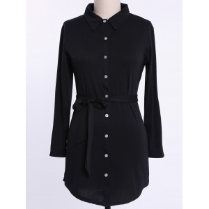 Long Sleeve Plus Size Button Up Shirt Dress - Black - 3xl