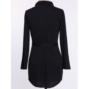 Long Sleeve Plus Size Button Up Shirt Dress - BLACK 2XL