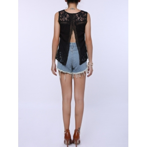 Split Back Lace Chiffon Tank Top - BLACK M