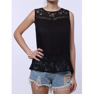 Split Back Lace Chiffon Tank Top - BLACK S