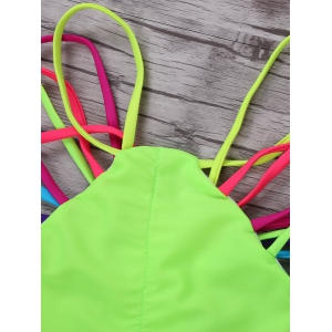 Halter Colorful Strappy String Bikini Set - COLORMIX S