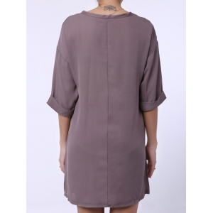 Casual Scoop Collar Half Sleeve Solid Color Loose-Fitting Women's Dress -