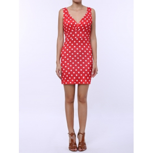 Polka Dot Sleeveless Bodycon Dress