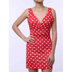 Polka Dot Sleeveless Bodycon Dress - RED M