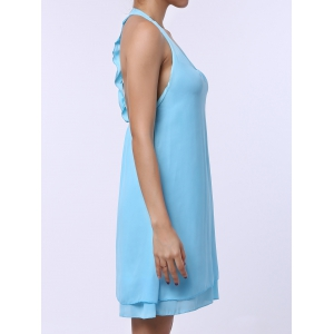 U Neck Sleeveless Backless Short Chiffon Dress - LAKE BLUE L