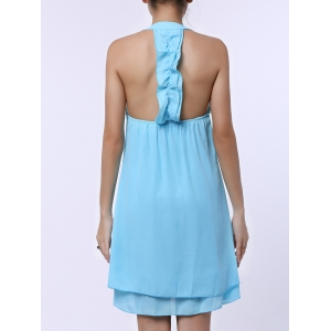 Sleevekess Chiffon Cut Out Mini A Line Summer Casual Dress - LAKE BLUE L