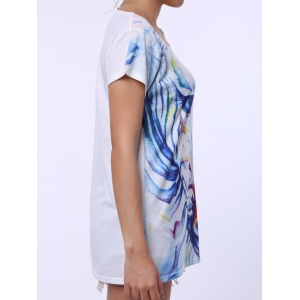 Casual Scoop Neck Watercolor Print Short Sleeve T-Shirt For Women -
