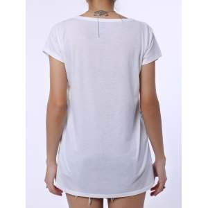 Casual Scoop Neck Watercolor Print Short Sleeve T-Shirt For Women - WHITE ONE SIZE(FIT SIZE XS TO M)