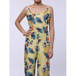 Cutout Spaghetti Strap Floral Print Backless Jumpsuit - YELLOW S