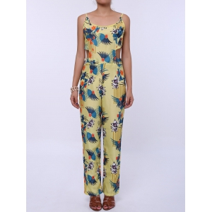 Cutout Spaghetti Strap Floral Print Backless Jumpsuit - Yellow - S