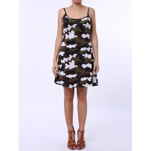Stylish Spaghetti Strap Camouflage Pattern Sundress For Women