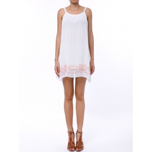 Casual Backless Mini Slip Summer Dress - White - S