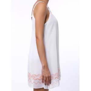 Casual Backless Mini Slip Summer Sleeveless Babydoll Dress - WHITE M