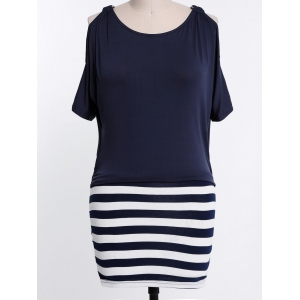 Stylish Scoop Collar Short Sleeve Spliced Striped Plus Size Women's Dress