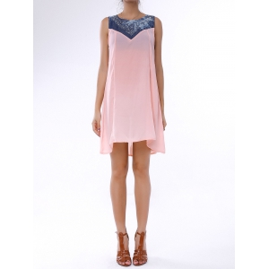 Denim Trim Rhinestone Embellished Sleeveless Shift Dress - Light Pink - M