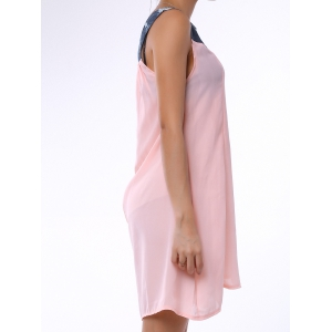 Fashionable Sleeveless Denim Splicing Rhinestone Embellished Dress For Women - LIGHT PINK M
