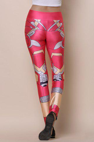 Fancy Stylish Elastic Waist Printed Slimming Women's Yoga Pants - ONE SIZE(FIT SIZE XS TO M) RED Mobile