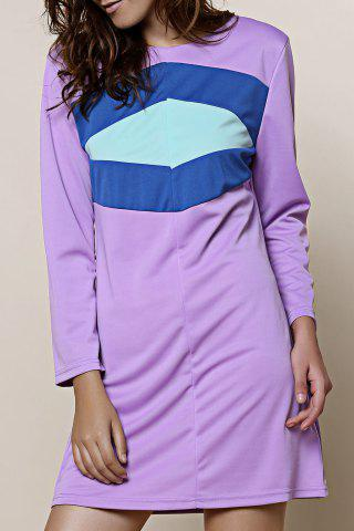 Best Casual Color Block Mini T Shirt Dress LAVENDER M
