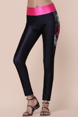 Fashion Active Printed Color Spliced Stretchy Skinny Women's Pants - ONE SIZE(FIT SIZE XS TO M) BLACK Mobile