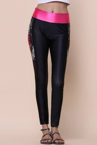 Hot Active Printed Color Spliced Stretchy Skinny Women's Pants - ONE SIZE(FIT SIZE XS TO M) BLACK Mobile