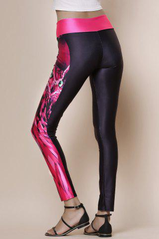 Store Fashionable Owl Print Color Splicing Skinny Women's Pants - ONE SIZE(FIT SIZE XS TO M) BLACK AND ROSE RED Mobile