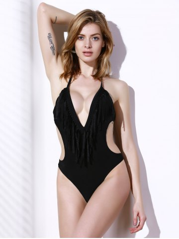 Outfit Fashionable Halter Tassel One-Piece Swimsuit For Women - S BLACK Mobile