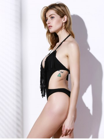 Outfit Fashionable Halter Tassel One-Piece Swimsuit For Women - BLACK L Mobile