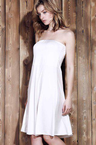 Chic Sexy Strapless Sleeveless Solid Color Women's Beachwear - XL WHITE Mobile