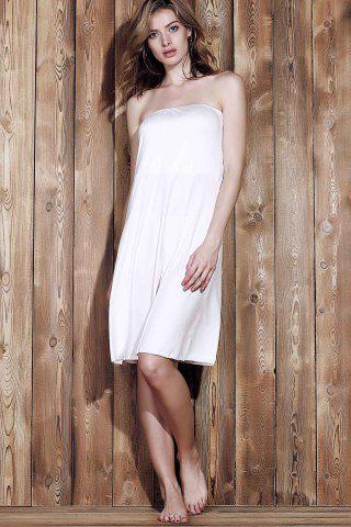 Outfit Sexy Strapless Sleeveless Solid Color Women's Beachwear - XL WHITE Mobile