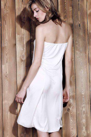 Shop Sexy Strapless Sleeveless Solid Color Women's Beachwear - XL WHITE Mobile