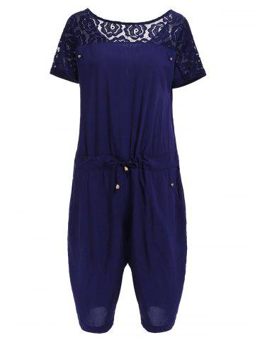 Fancy Casual Style Round Neck Short Sleeve Lace Spliced Plus Size Romper For Women