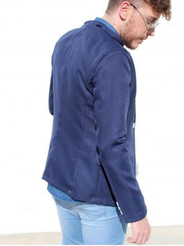 Hot Trendy Lapel One Button Sutures Design Slimming Long Sleeve Polyester Blazer For Men - 2XL CADETBLUE Mobile