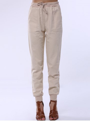 Chic Drawstring Sports Pocket Jogger Pants APRICOT S
