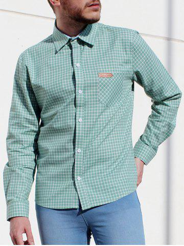 Chic Long Sleeve Slimming Checked Cotton Shirt GREEN M