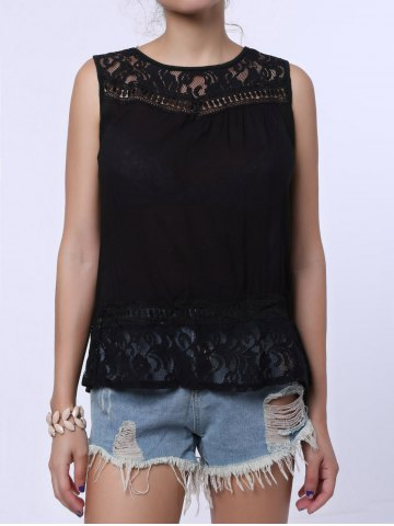Online Split Back Lace Chiffon Tank Top - L BLACK Mobile