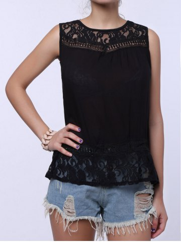 Outfit Split Back Lace Chiffon Tank Top - L BLACK Mobile