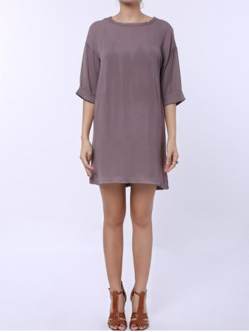 Outfits Casual Scoop Collar Half Sleeve Solid Color Loose-Fitting Women's Dress