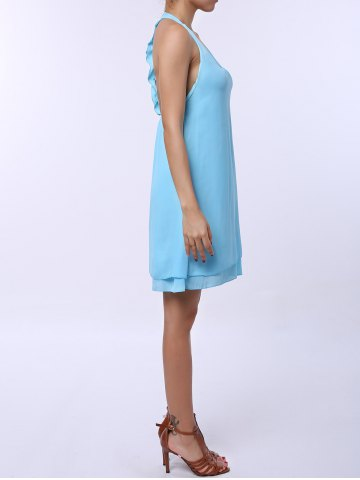 Hot Sleevekess Chiffon Cut Out Mini A Line Summer Casual Dress - S LAKE BLUE Mobile