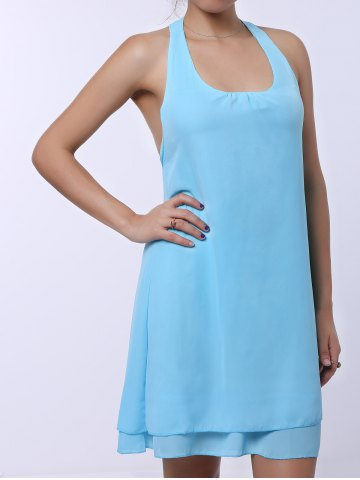 Outfit Sleevekess Chiffon Cut Out Mini A Line Summer Casual Dress - S LAKE BLUE Mobile