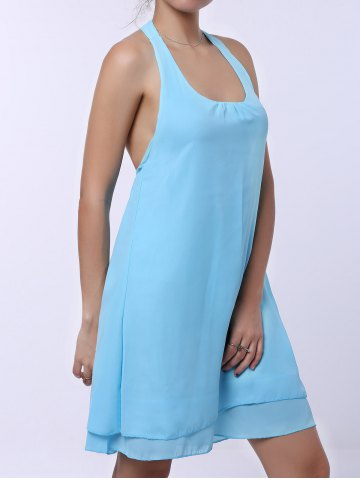 Latest Sleevekess Chiffon Cut Out Mini A Line Summer Casual Dress - S LAKE BLUE Mobile