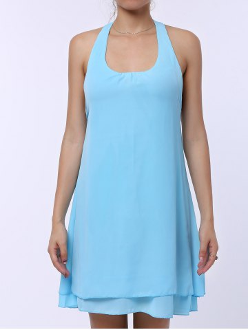 Shops Sleevekess Chiffon Cut Out Mini A Line Summer Casual Dress - S LAKE BLUE Mobile